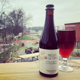 "Monday Night Brewing's ""Hello Beautiful"" Barrel-Fermented Wild Ale w/ Blueberries [Photo Credit: @mondaynightgarage]"